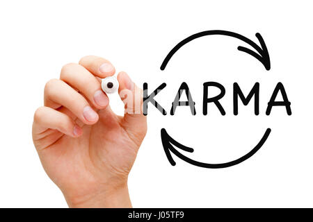 Hand drawing Karma Cycle concept with black marker on transparent wipe board. - Stock Photo