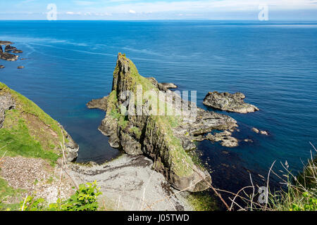 Cliff scenery at Port Moon, from the Causeway Coast footpath, County Antrim, Northern Ireland, UK - Stock Photo