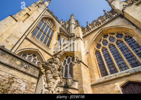 Bath; Somerset; South West England; United Kingdom; Bath Abbey; Abbey Church of Saint Peter and Saint Paul; Perpendicular - Stock Photo