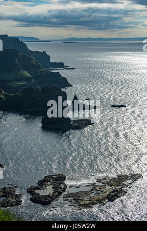 Cliff scenery looking west from Benbane Head, from the Causeway Coast footpath, County Antrim, Northern Ireland, - Stock Photo