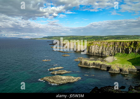 Cliff scenery near Port Moon, from the Causeway Coast footpath, County Antrim, Northern Ireland, UK - Stock Photo
