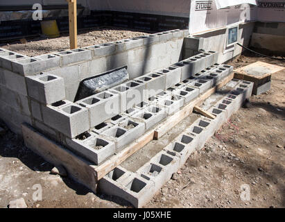 Cinder blocks used for a porch at a construction site
