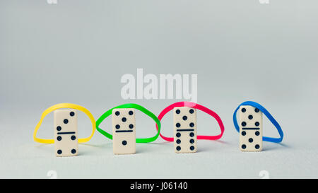 Personality traits concept based on colour types. Dominance, inducement, submission, and compliance. Domino represent - Stock Photo