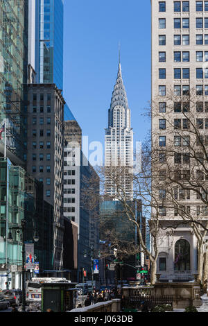 New York Skyline with sky scrapers and Chrysler Building - Stock Photo