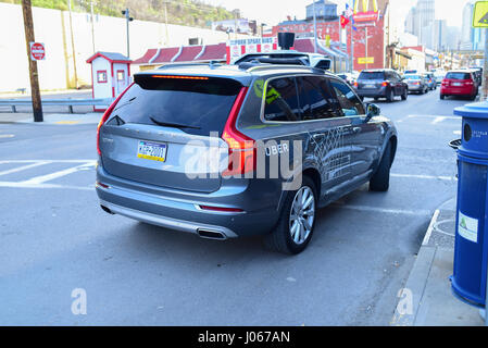 An UBER SUV Taxi car in Pittsburgh Pa - Stock Photo