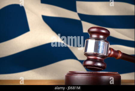 Hammer and gavel against 3d digitally generated greek national flag - Stock Photo