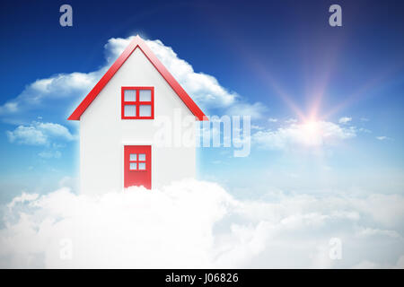 Composite image of 3d house against bright blue sky with clouds - Stock Photo