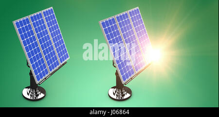 Digital composite of 3d solar panel against graphic background - Stock Photo