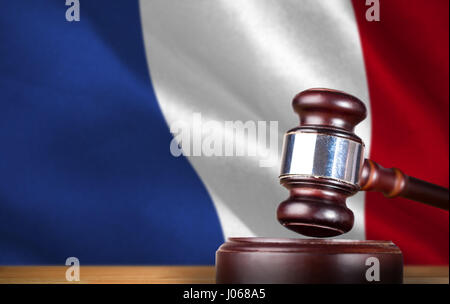 Hammer and gavel against 3d  digitally generated french national flag - Stock Photo