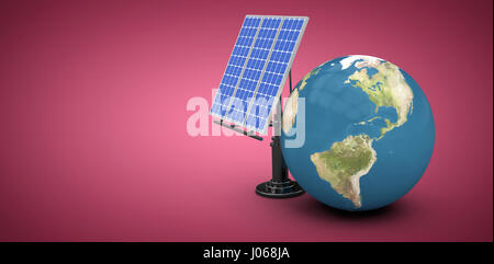 Digitally composite image of 3d globe with solar panel against red and white background - Stock Photo