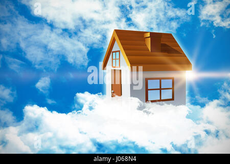 Composite image of 3d house against view of beautiful sky and clouds - Stock Photo