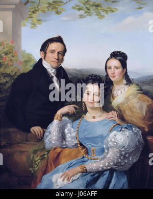 Théodore Joseph Jonet and his two daughters by François-Joseph Navez (1787-1869) - Stock Photo