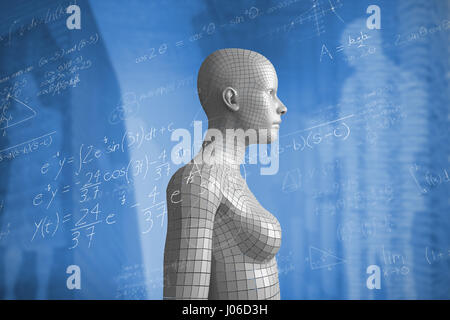 Maths over black background against composite image of view of data technology - Stock Photo