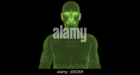 Digital image of three dimensional male against black background - Stock Photo