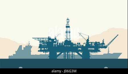 Sea oil drilling rig and tanker - Stock Photo