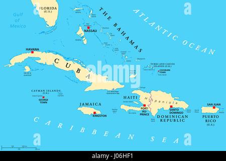 Greater Antilles political map. Caribbean. Cuba, Jamaica, Haiti, Dominican Republic, Puerto Rico, Cayman Islands, - Stock Photo
