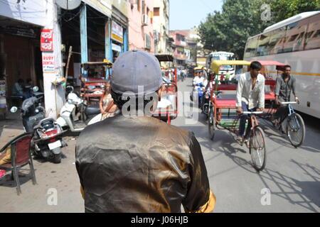 Tuk tuk ride - Old Delhi, India - Stock Photo
