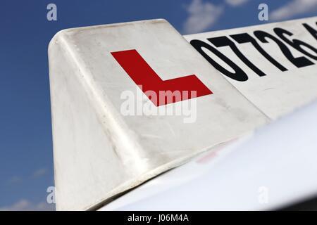 British driving school car sign - Stock Photo
