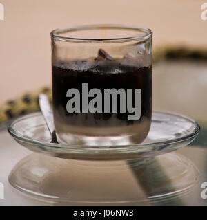 Square close up of an iced Vietnamese coffee in Vietnam. - Stock Photo
