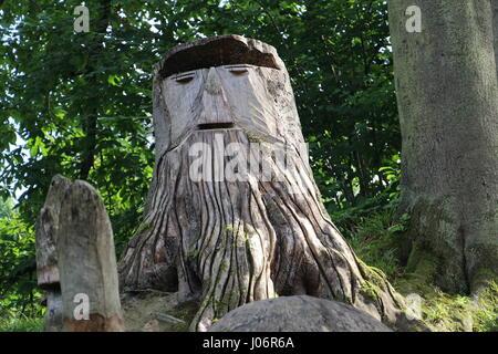 Fancy tree trunk in Park Solvay (Brussels, Belgium) - Stock Photo