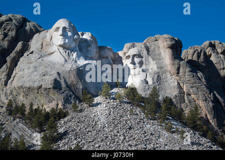 Mount Rushmore Memorial Monument is a popular tourist destination in the Black Hills of South Dakota - Stock Photo