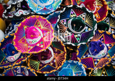 Colorful Mexican sombreros at market in Mexico - Stock Photo