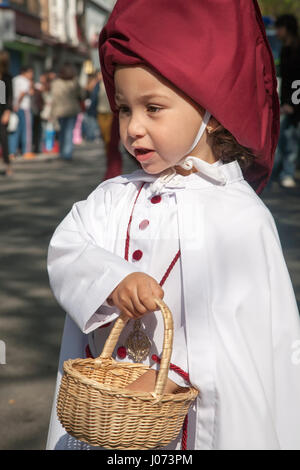 Celebrating Semana Santa, the Holy week, in Seville, Spain. Hermandad El Cerro del Águila - Stock Photo