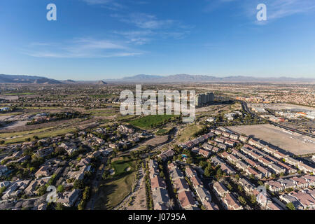 Afternoon aerial view of the Summerlin area in Las Vegas, Nevada. - Stock Photo