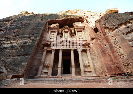 The Treasury (El Khazneh) in the ancient Nabatean city of  Petra in Jordan. - Stock Photo