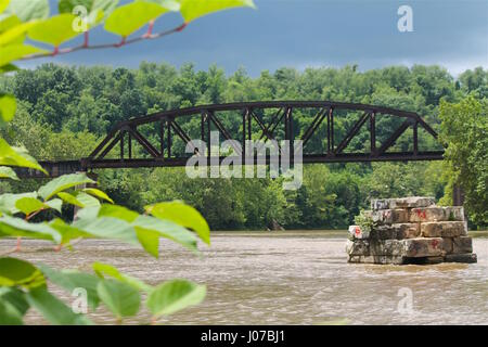 railroad train steel bridge - Stock Photo