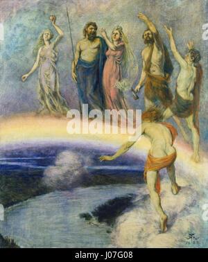 Hans Thoma - Zug der Götter nach Walhall (1880) - Stock Photo