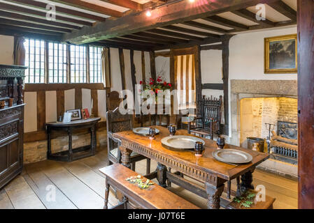 Hall's Croft. Interior of the house owned by William Shakespeare's daughter, Susanna Hal and her husband Dr John - Stock Photo