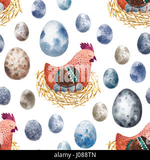 Seamless pattern with hand drawn eggs and birds. Isolated on white watercolor easter eggs and other elements for - Stock Photo