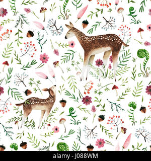 Seamless pattern with hand drawn deer mom and deer baby. Isolated on white background watercolor deers and forest - Stock Photo