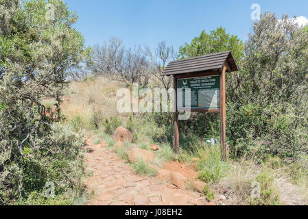 CAMDEBOO NATIONAL PARK, SOUTH AFRICA - MARCH 22, 2017: Information board on the trail to the viewpoint of the Valley - Stock Photo
