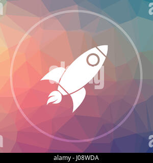 Rocket icon. Rocket website button on low poly background. - Stock Photo