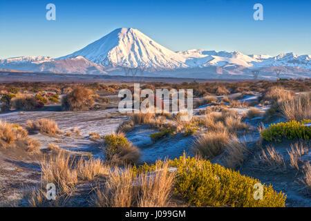 Mount Ngauruhoe and the Rangipo Desert, Tongariro National Park, New Zealand - Stock Photo