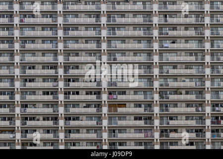 Detail image of the balconies of a high rise apartment building inTokyo, Japan. Friday March 3rd 2017 - Stock Photo