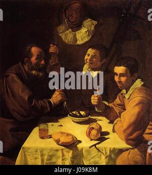 Tres hombres sentados a la mesa, by Diego Velázquez - Stock Photo