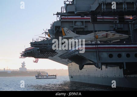 USS Midway Aircraft Carrier with Jet - Stock Photo