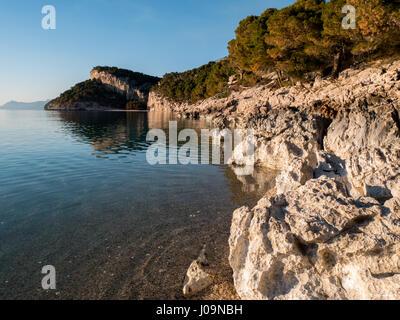 Landscape scene of coastline at Makarska riviera on sunny day - Stock Photo