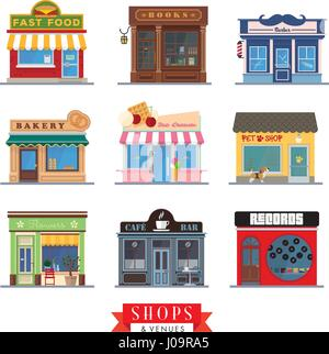 Set of 9 flat design shops and venues vector icons - Stock Photo