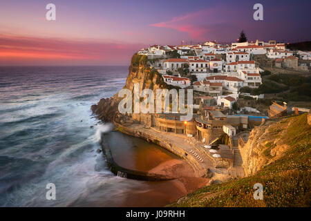 Azenhas do Mar is a small village in Sintra, Portugal that resembles Cinque Terre in Italy. This photo was taken - Stock Photo