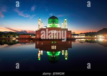 Reflection of Kota Kinabalu City Mosque, Island of Borneo, Malaysia - Stock Photo