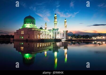 Reflection of Kota Kinabalu City Mosque, Island of Borneo, Malaysia - Stock Photo