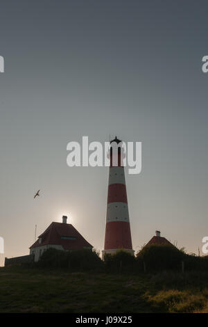 Germany´s most famous lighthouse Westerheversand in the salt marshes along the North Sea coast, Westerhever, North - Stock Photo