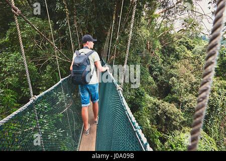 Tourist on the elevated walkway through the treetops in rainforest - Borneo, Malaysia - Stock Photo