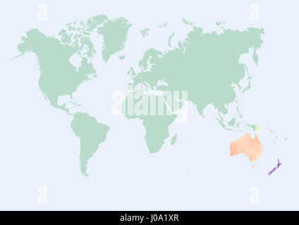 Watercolor map of the world with Oceania countries - Stock Photo