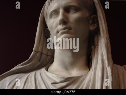 Detail of a statue of Augustus as Pontifex Maximus on display at the National Roman Museum (Palazzo Massimo) - Stock Photo