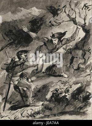 Eugène Delacroix - Faust and Mephistopheles on the Blocksberg - - Stock Photo